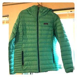 Green Aqua Patagonia down coat xl hooded